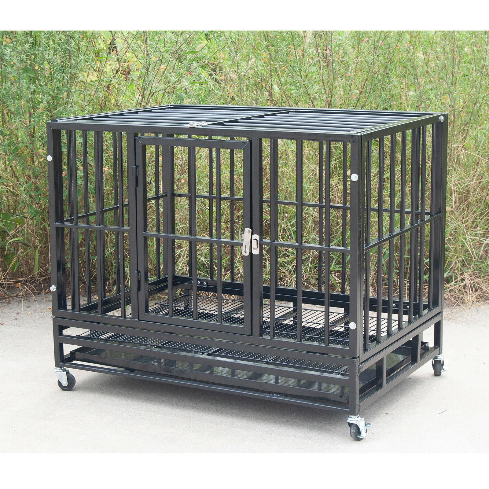 """37"""" Heavy Duty Pet Dog Strong Crate Wheels&Tray"""