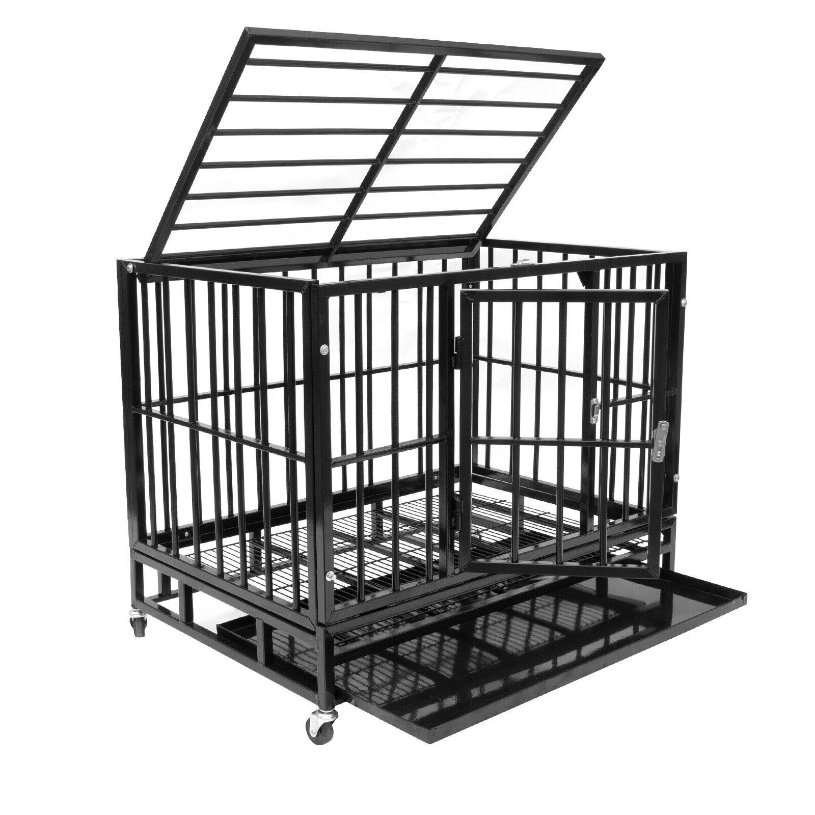 """37"""" Heavy Pet Dog Cage Crate Playpen Wheels&Tray"""