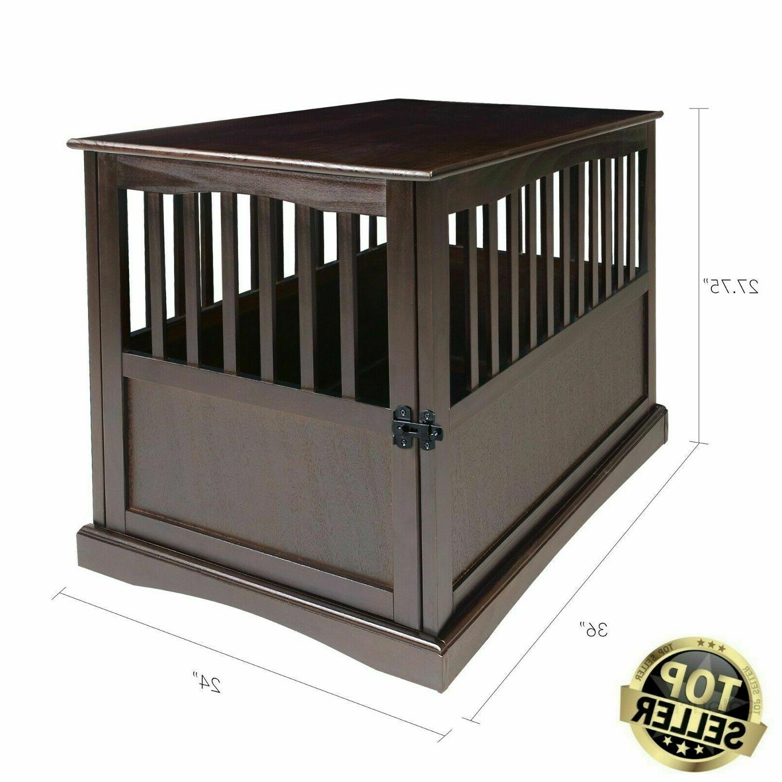 indoor wood large dog crate end table