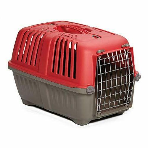 """Mid-West Homes Red Travel Carrier for """"Tiny"""" Breed Dogs and"""