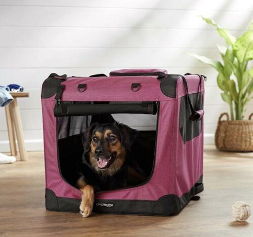 red premium soft pet crate travel carrier