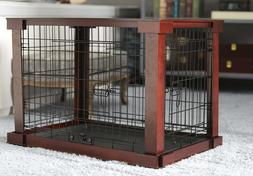 Medium Size Dog Crate End Table Metal Side Wooden Top Side S