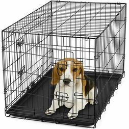 """NEW 30"""" Dog Crate Folding Wire Metal Cage Kennel W/ Tray Pan"""