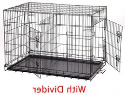 """Extra Large 48"""" Folding Pet Dog Cat Cage Crate Kennel With C"""