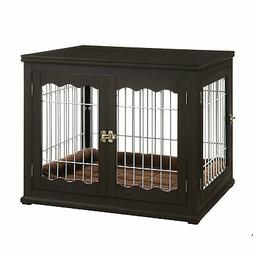 Unipaws Pet Crate with Pet Bed, Wooden Wire Dog Kennel in Es