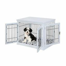Unipaws Pet Crate with Pet Bed, Wooden Wire Dog Kennel in Wh