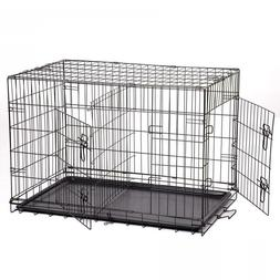 Kennel-Cat-Dog-Folding-Crate-Wire-Metal-Cage-W-Divider 48-42