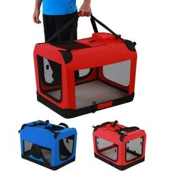 Portable Dog Cat Crate Soft Sided Pet Carrier Foldable Train