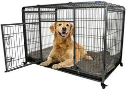 Premium Heavy Duty Dog Crate Cage with Nylon Wheels - Size M