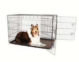 Secure and Compact Double Door Metal Dog Crate, Extra Large