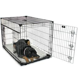 sliding double door dog crate with removable