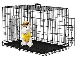 """BestPet 42"""" Wire Metal Folding Pet Dog Cage Crate Kennel W/2"""