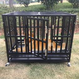 """XL 37"""" Heavy Duty Dog Cage Crate Kennel Playpen Square Tube"""